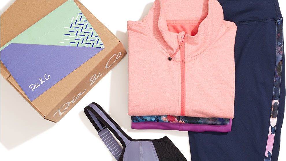 Folded women's fitness clothes from Dia & Co